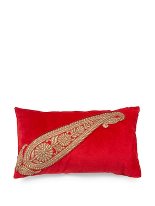 Buy Royal Red Cushion Cover With A Zari Paisley Motif By