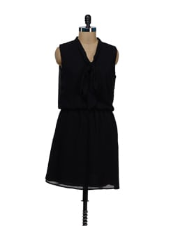 Stylish Black Bow Dress - Besiva