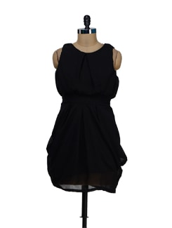 Trendy Black Tulip Dress - Besiva