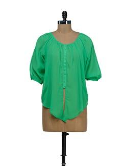 Parrot Green Sheer Tie Up Shirt - Besiva