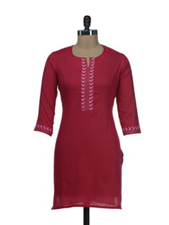 Red Cotton Kurta  With Silver Trims - AFSANA
