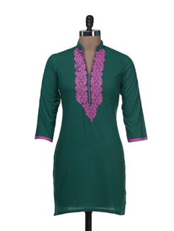 Dark Green & Pink Embroidered Kurta - AFSANA