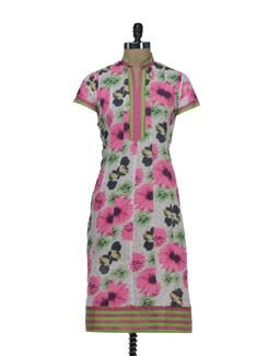 Pink & Green Floral Kalidar Kurta - AFSANA