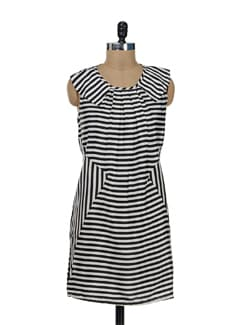 Black & White Striped Dress - Remanika