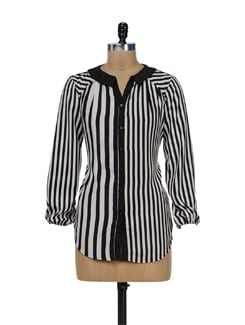Trendy Black & White Striped Shirt - Remanika