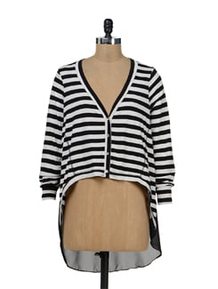 Black & White Striped Asymmetric Top - Remanika
