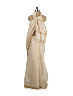 Off White And Ochre  Saree With Temple Border - DAMA