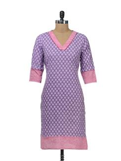 Pink & Purple Printed Kurta - Cotton Curio