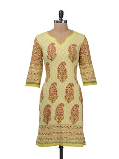 Chic Lemon Kurta With Buti Print - Cotton Curio