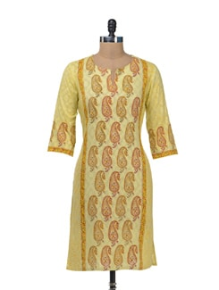 Yellow Paisley Print Kurta - Cotton Curio