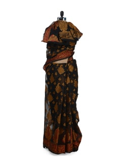 Sophisticated Black Saree With Splashes Of Orange And Red - Bunkar