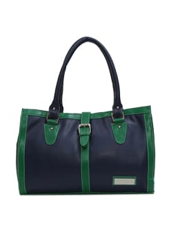 Classy Navy Blue And Green Handbag - Lino Perros