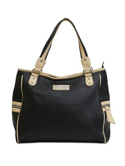 Textured Black And Beige Handbag - Lino Perros