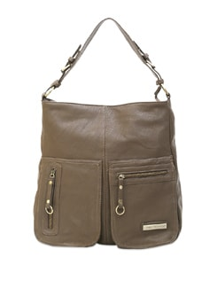 Brown Handbag With Zipper Detailed Front Compartments - Lino Perros