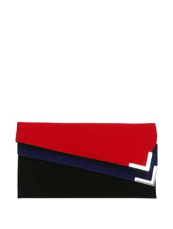Black Clutch With Double Flap In Red And Blue - Lino Perros