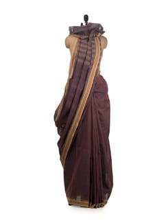 Natural Dyed Purple Khadi Saree With Temple Border - DAMA
