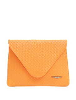 Neon Orange Textured Envelope Clutch - Lino Perros