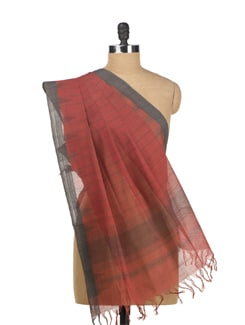 Handcrafted Khadi Dupatta With Temple Border - DAMA