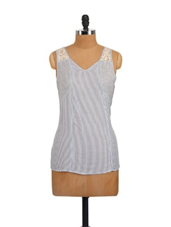 Blue & White Striped V-Neck Top - Myaddiction