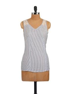 Blue & White Striped V-Neck Top - Myaddiction