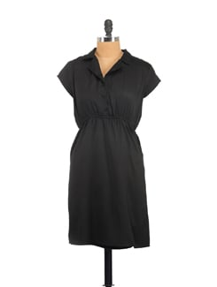 Black Lapel Collar Dress - Myaddiction