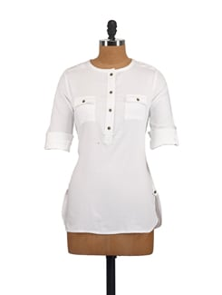 White Cargo Shirt With Pockets - Myaddiction