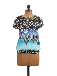 Blue & Black Ikat Print Top - Myaddiction