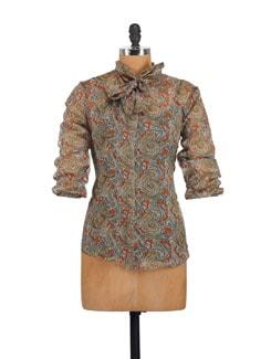 Brown Paisley Print Necktie Top - Myaddiction