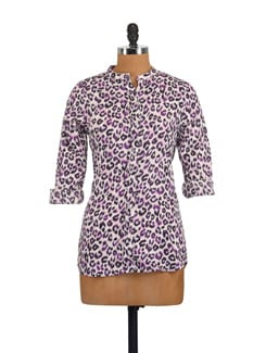 Purple Animal Print Shirt - Myaddiction