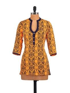 Yellow & Navy Jali Print Top - Myaddiction