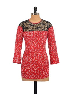 Red Hearts Top With Lace Yoke - Myaddiction