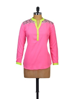 Neon Pink Embellished Top - Myaddiction