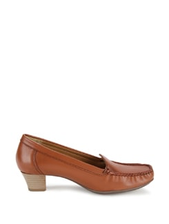 Rich Brown Loafers In Mid High Heels - La Briza