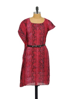 Chic Red Printed Dress With Belt - Purplicious
