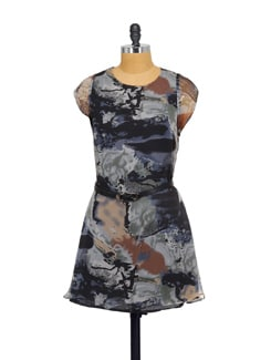 Printed Grey Dress With Belt - Purplicious