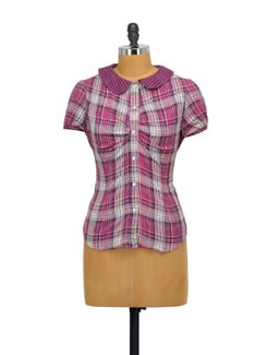 Purple Checked Peter Pan Shirt - Purplicious