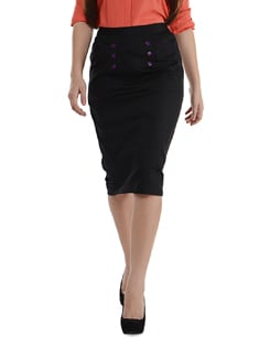Black Long Skirt With Buttons - Purplicious