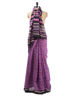 Purple Ganga Jamuna Saree - Desiweaves