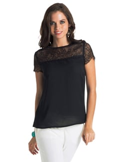 Black Lace Trim Blouse - PrettySecrets