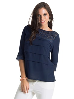 Navy Pleated Layered Blouse - PrettySecrets