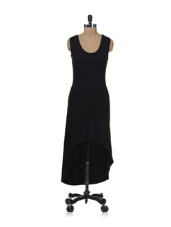Simple Black Asymmetrical Dress - Femella
