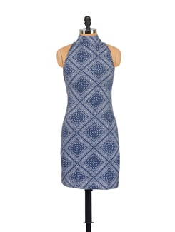 Printed Indigo Blue Dress - GRITSTONES
