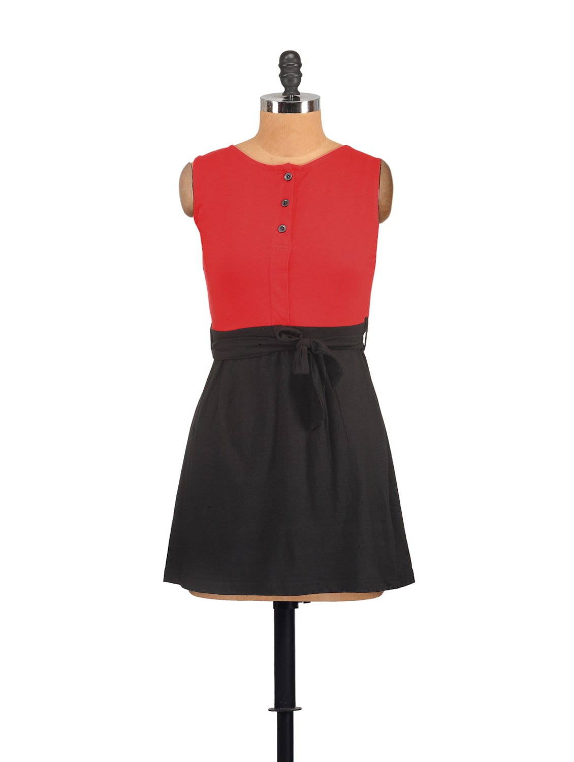 Red And Black Casual Dress With A Tie Up Belt - GRITSTONES