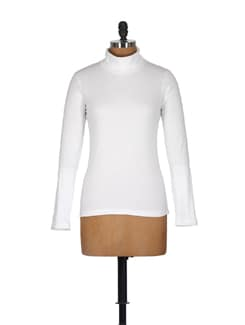 Classic White High Neck Top - GRITSTONES