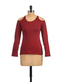 Maroon Full Sleeved Top With Cut Out Shoulders - GRITSTONES