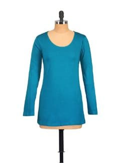 Turquoise Casual Full Sleeved Top - GRITSTONES
