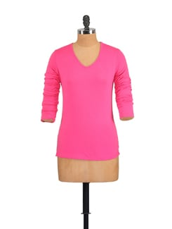 Hot Pink Full Sleeved Casual Top - GRITSTONES