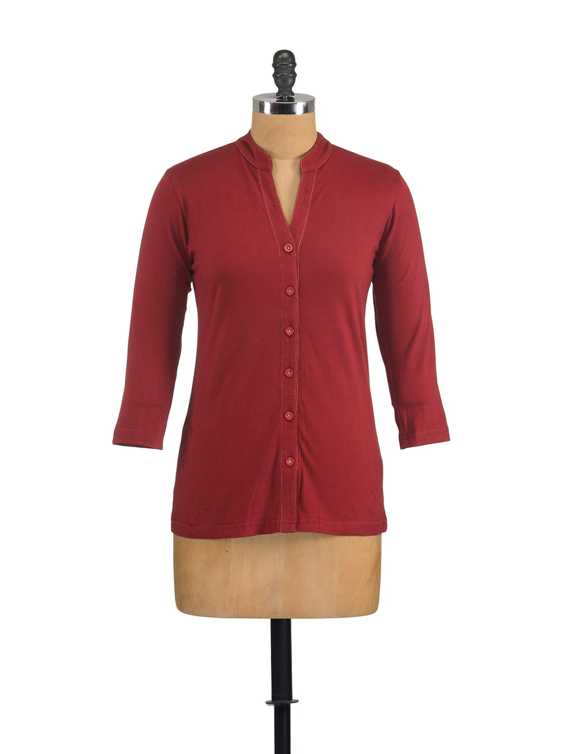 Buttoned Shirt In Maroon - GRITSTONES