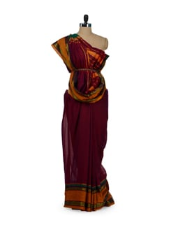 Maroon Cotton Saree With Zari Border - Desiweaves