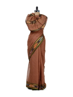 Brown Ikat Print Border Saree - Desiweaves